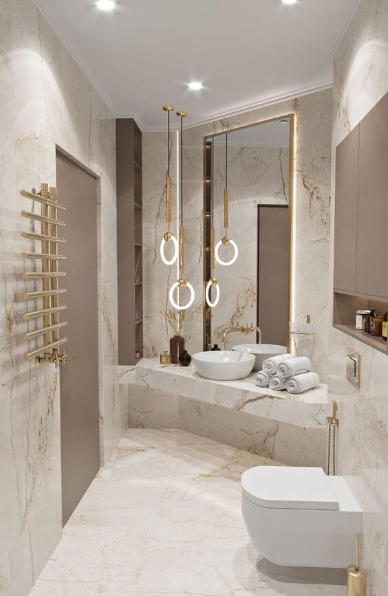 Lavabo luxuoso com revestimento marmorizado