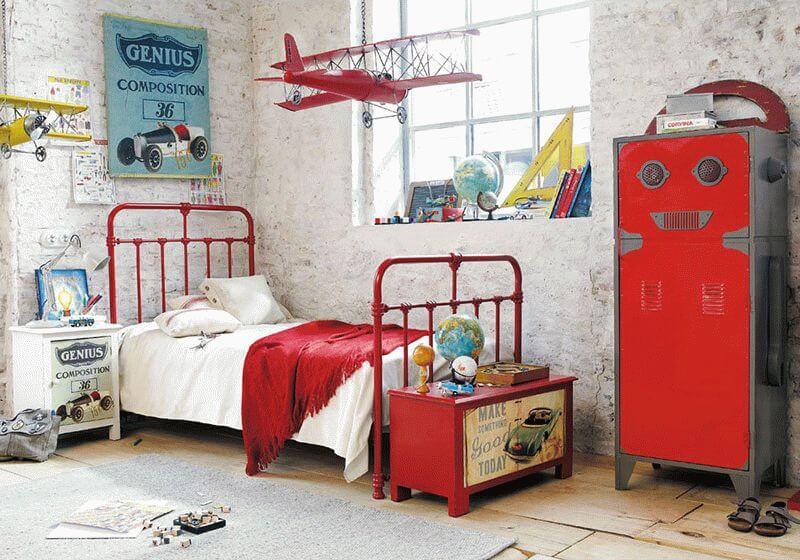 Lustre infantil de avião vermelho
