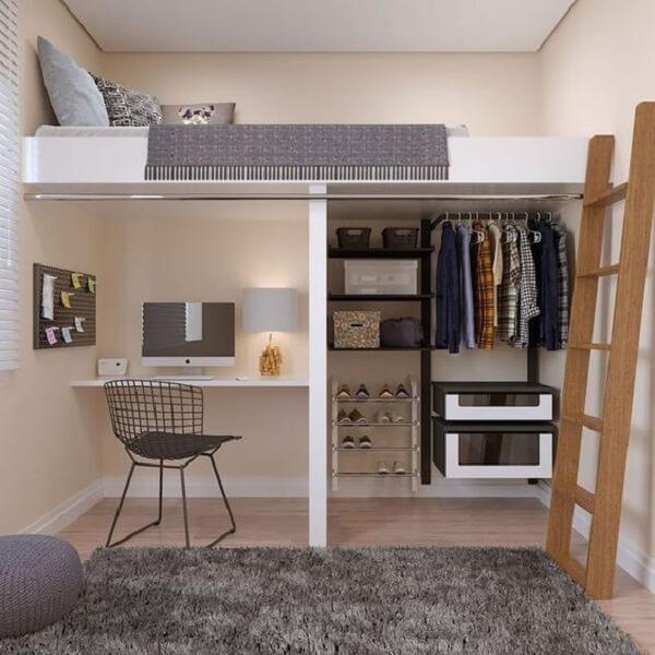 Mesa de estudos, closet e cama solteiro mezanino