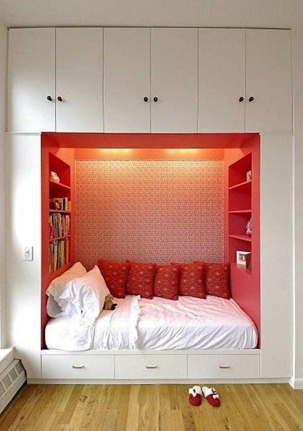Modelo criativo de guarda-roupa com cama embutida de solteiro