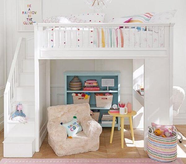 Modelo de cama solteiro mezanino para quarto infantil