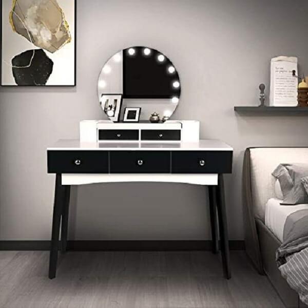 Modelo de penteadeira preta e branca com luz de Led e gavetas