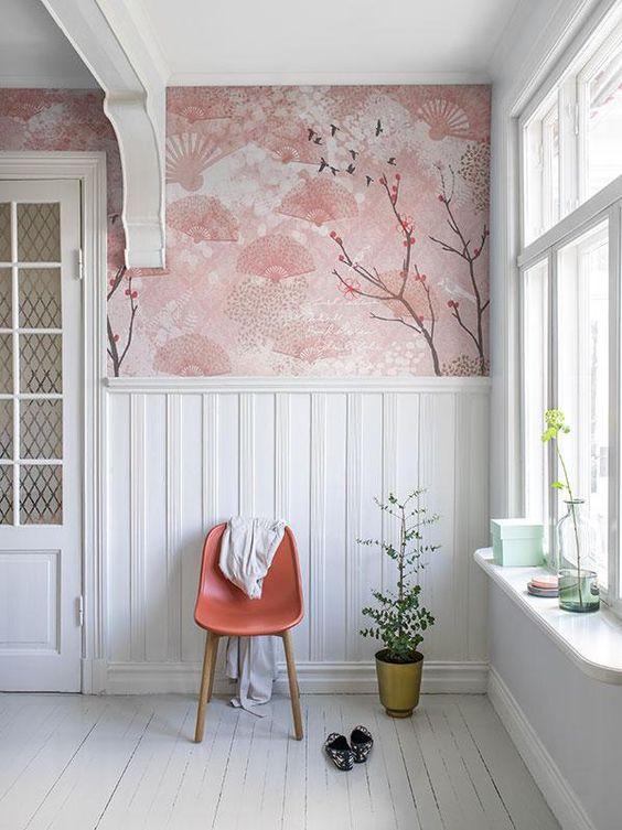 Papel de parede rosa de cerejeira