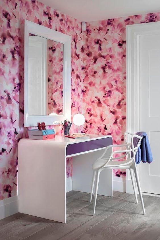 Papel de parede rosa de flores