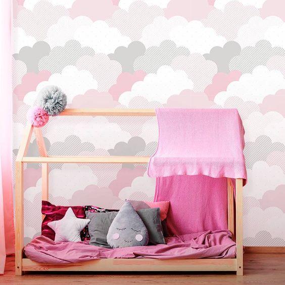 Papel de parede rosa de nuvem