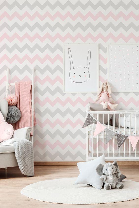 Papel de parede rosa e cinza geométrico