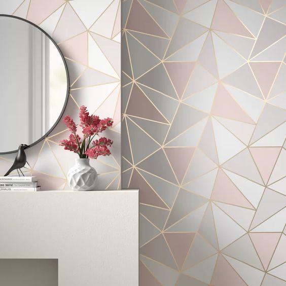 Papel de parede rosa e cinza moderno