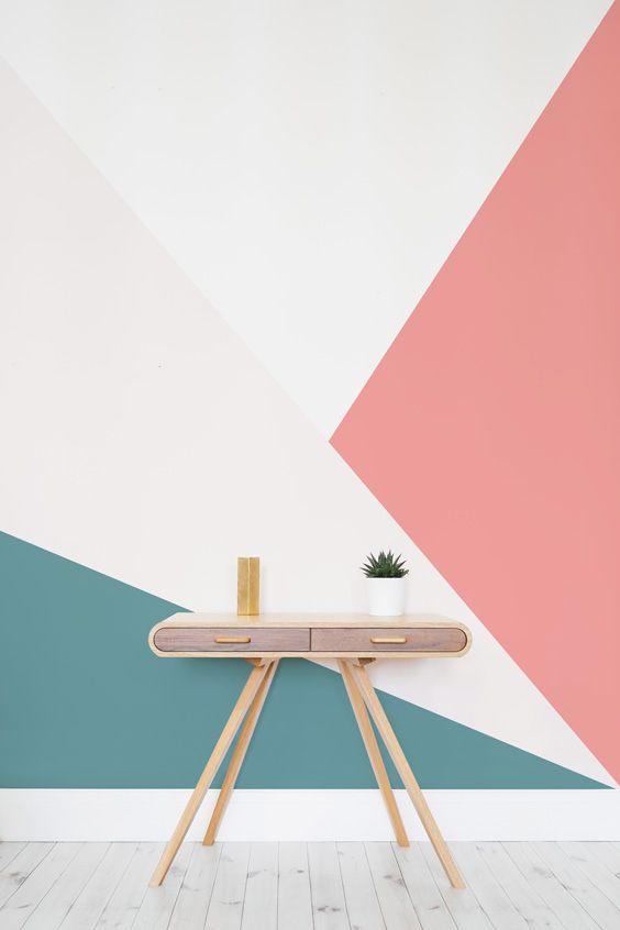 Papel de parede rosa e turquesa