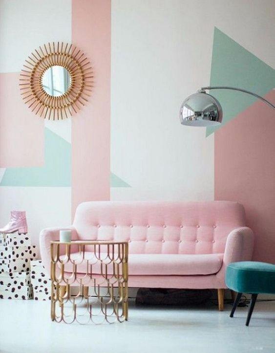 Papel de parede rosa e verde pastel