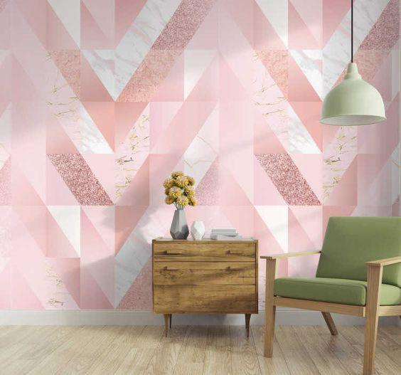 Papel de parede rosa geométrico e branco