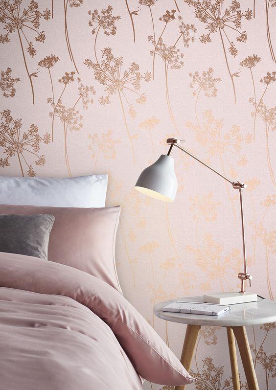 Papel de parede rose gold para quarto feminino