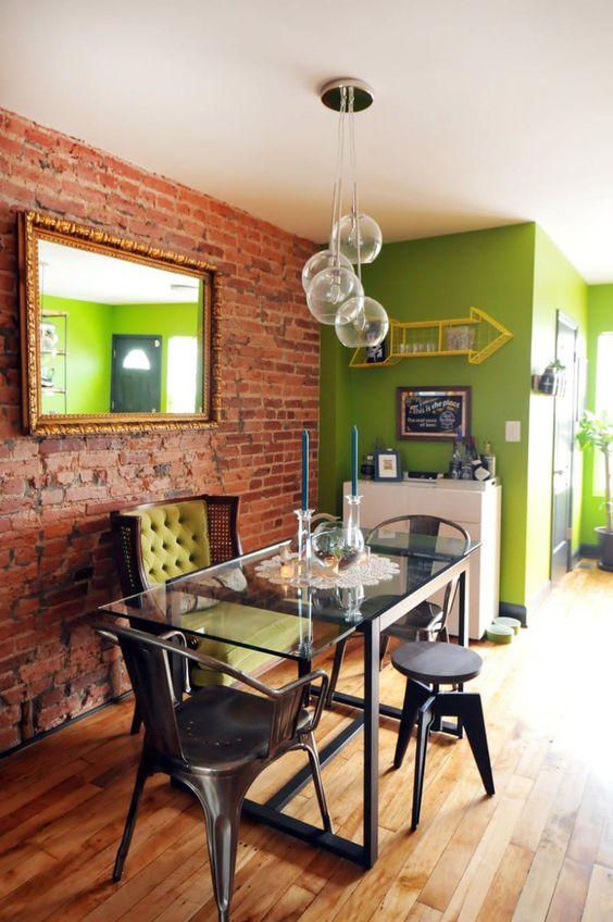 Papel de parede rustico com parede verde