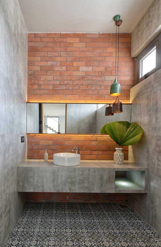 Papel de parede rustico concreto e tijolinho para banheiro
