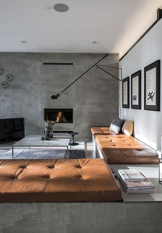 Papel de parede rustico concreto para sala de estar