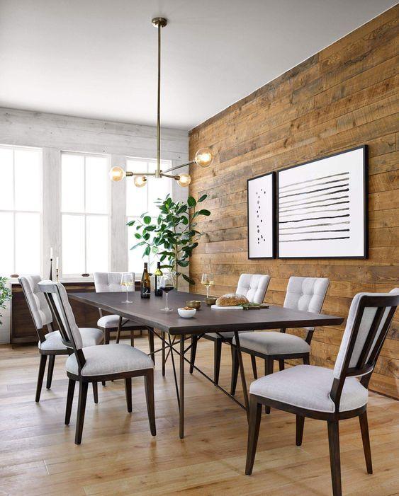 Papel de parede rustico de madeira para sala de jantar moderna