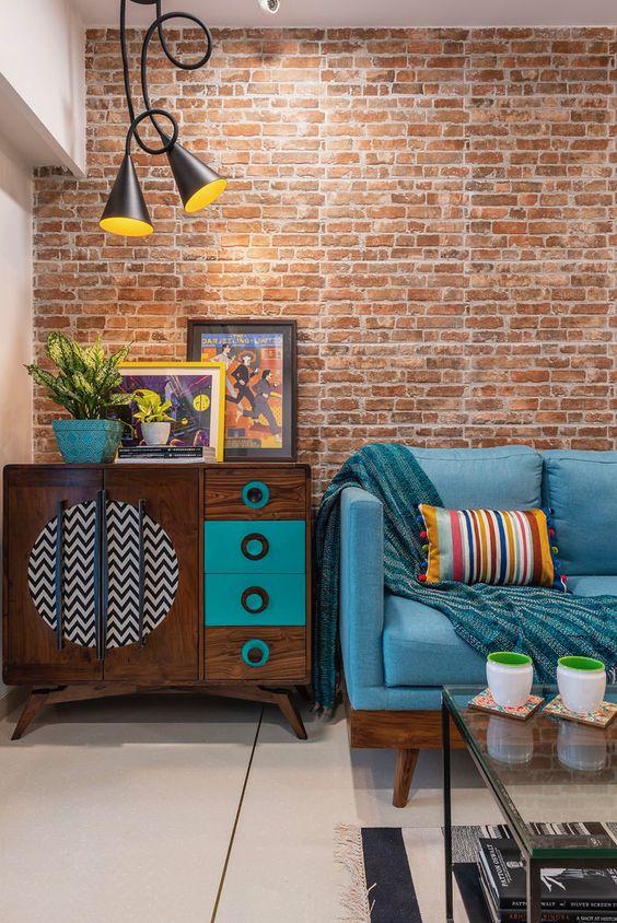 Papel de parede rustico na sala de estar retro
