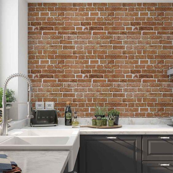 Papel de parede rustico para cozinha