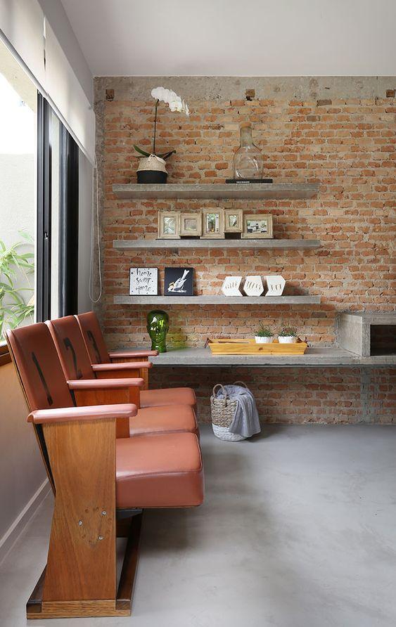 Papel de parede rustico para sala de estar industrial