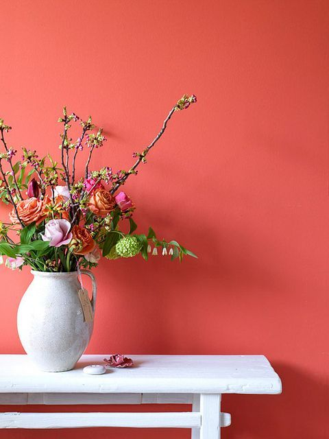 Parede cor coral com vaso de flores