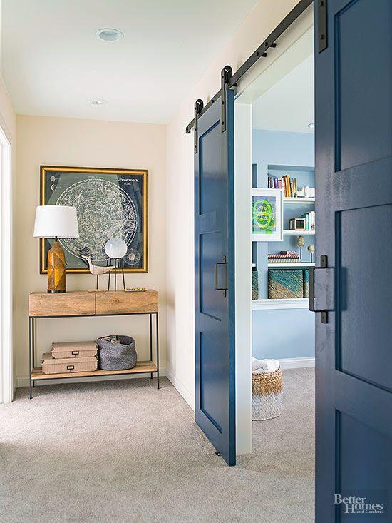 Porta de correr para sala azul