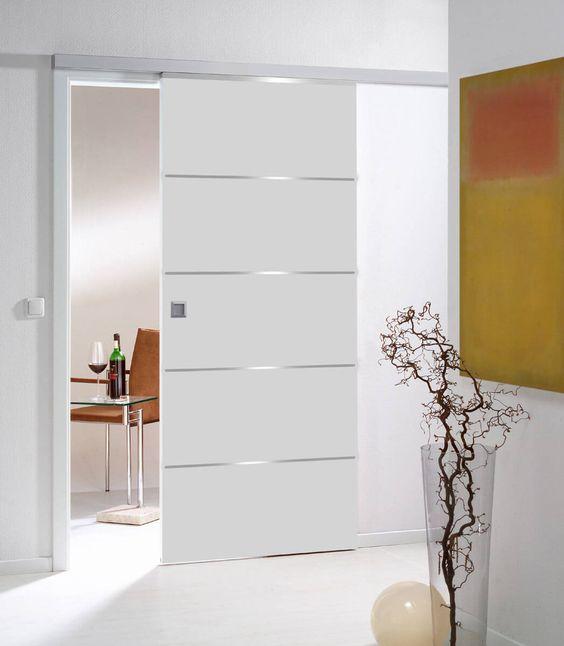 Porta de correr para sala de vidro branco