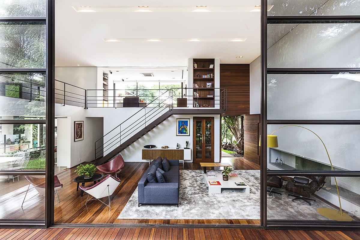 Porta de correr para sala grande e moderna
