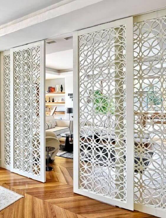 Porta de ferro branca para dividir ambientes chiques