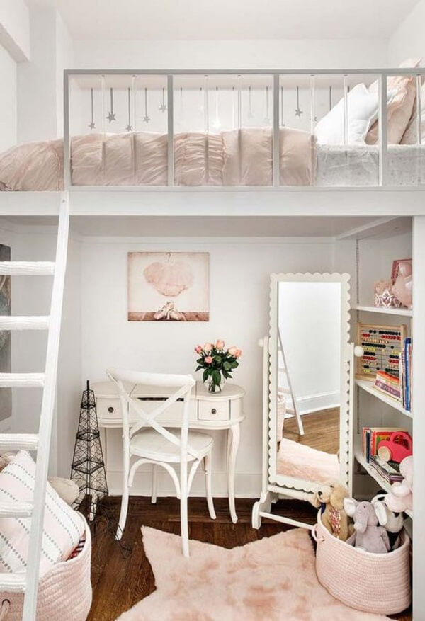 Projeto de cama solteiro mezanino para quarto feminino