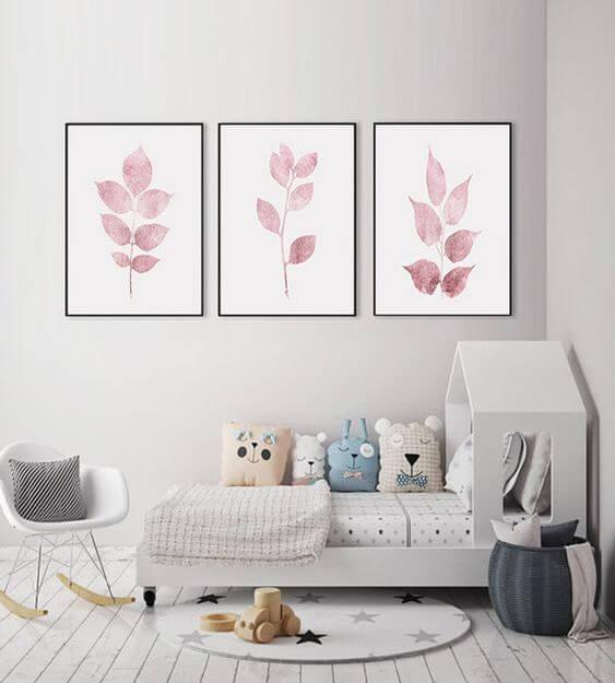 Quadro infantil aquarela cor de rosa