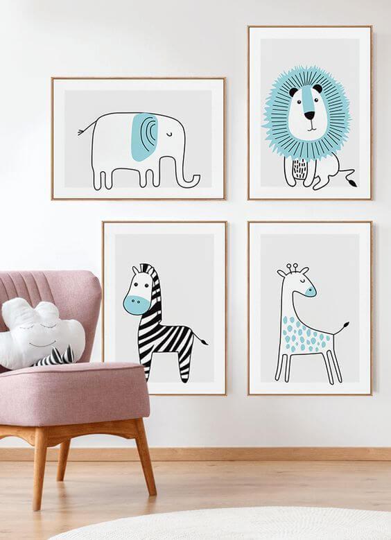 Quadro infantil com desenho de animais