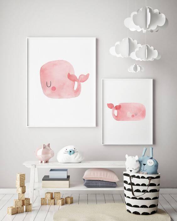 Quadro infantil de baleia aquarela cor de rosa