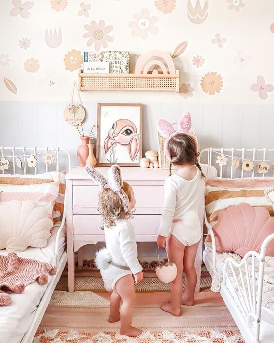 Quadro infantil de coelho charmoso