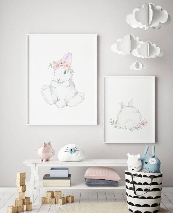 Quadro infantil de coelho delicado