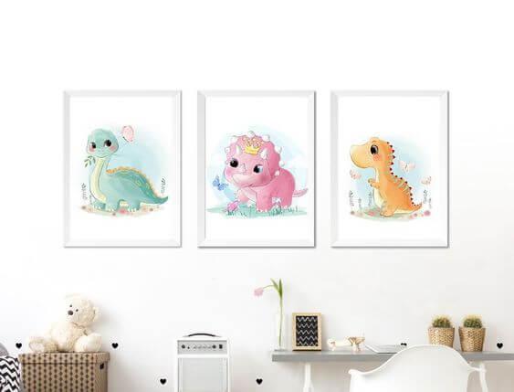 Quadro infantil de dinossauro para quarto de menina e menino