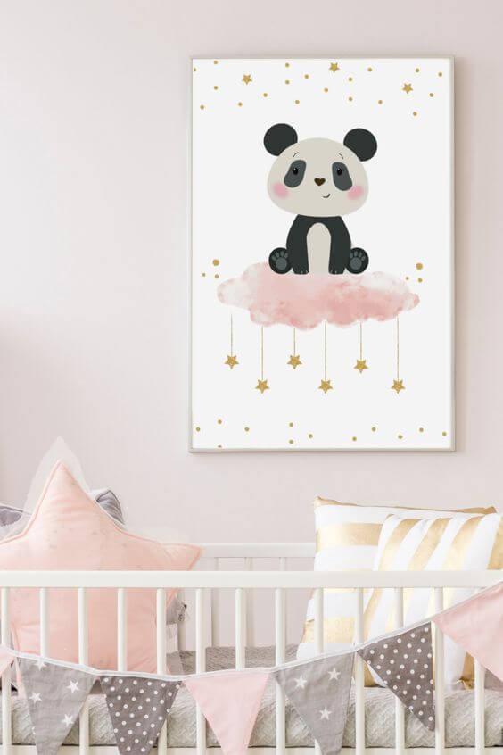 Quadro infantil de panda para quarto de menina delicado