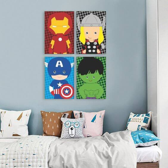 Quadro infantil de super heroi