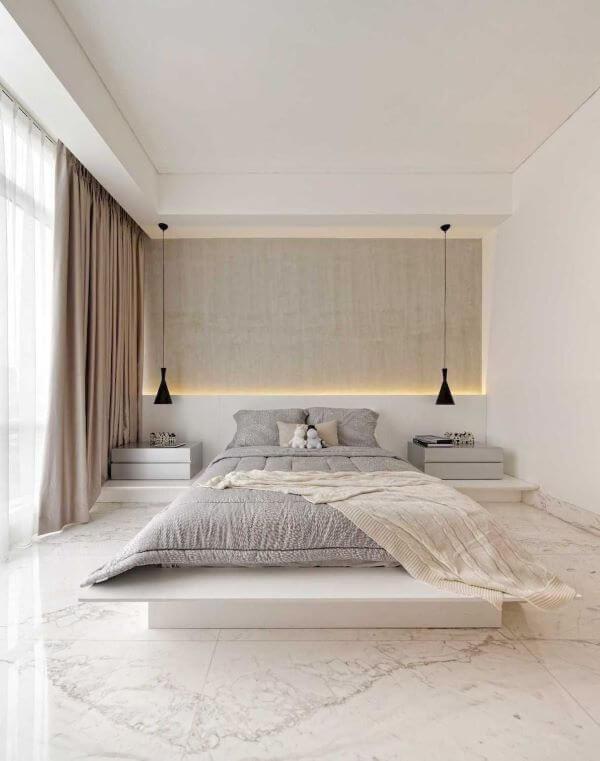 Quarto com piso revestimento marmorizado