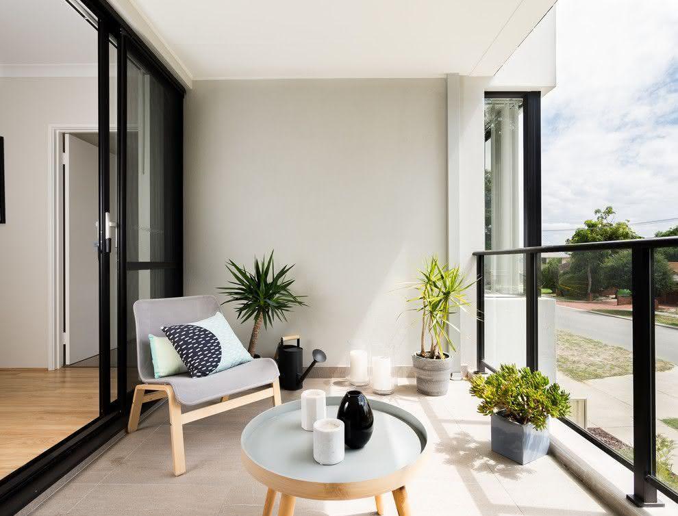 Quarto com varanda moderna