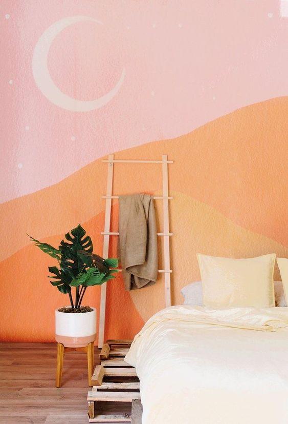 Quarto rosa e cor coral na parede moderna
