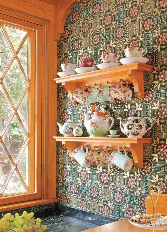 Revestimento verde para cozinha vintage charmosa