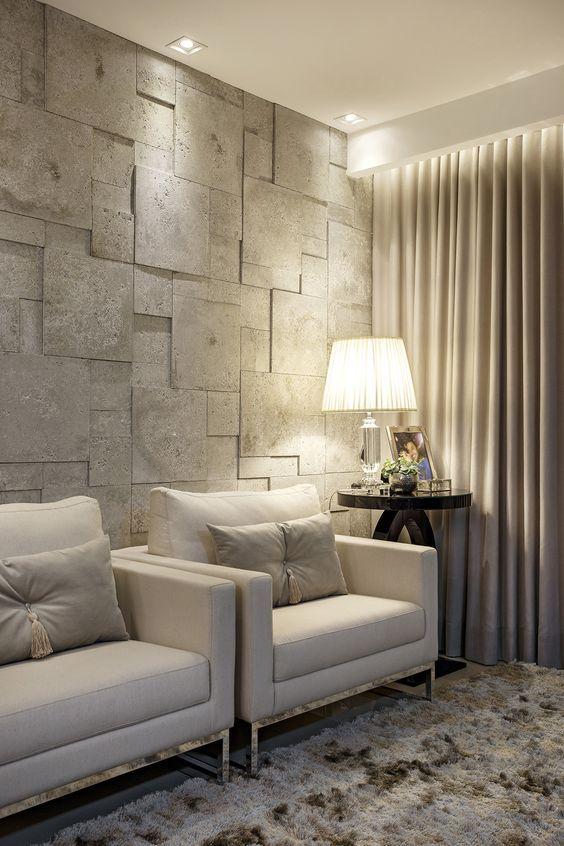 Revestimento bege 3D para sala de estar chique
