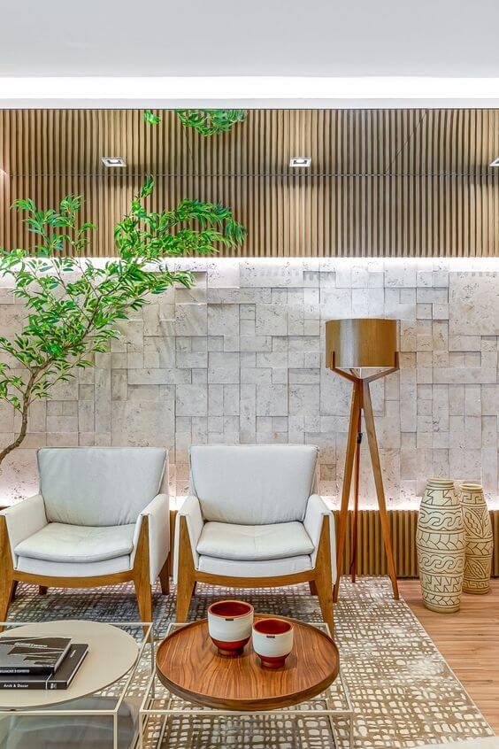 Revestimento bege 3D para sala de estar clássica
