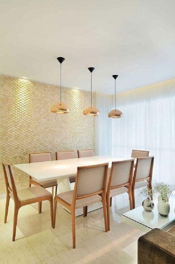 Revestimento bege 3D para sala de jantar chique