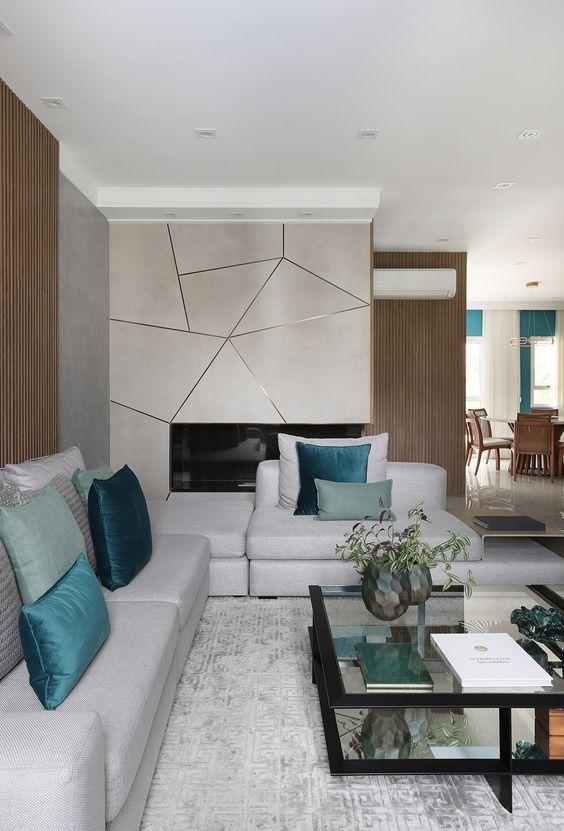 Revestimento bege geométrico para sala de estar