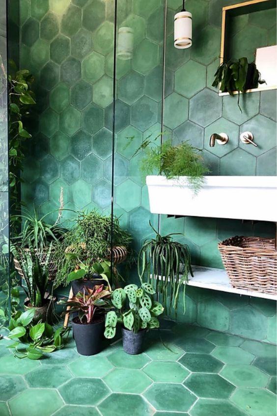 Revestimento hexagonal verde