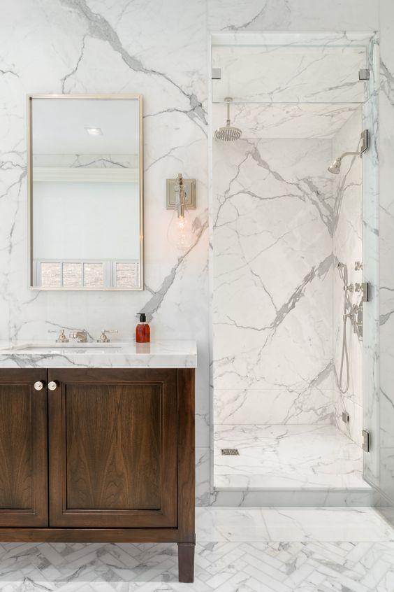 Revestimento marmorizado cinza moderno