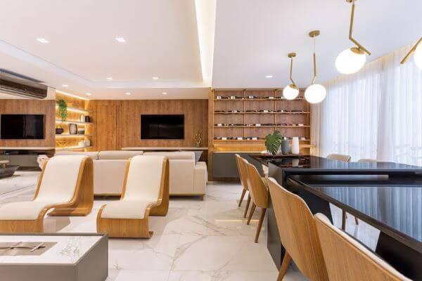 Revestimento marmorizado com piso