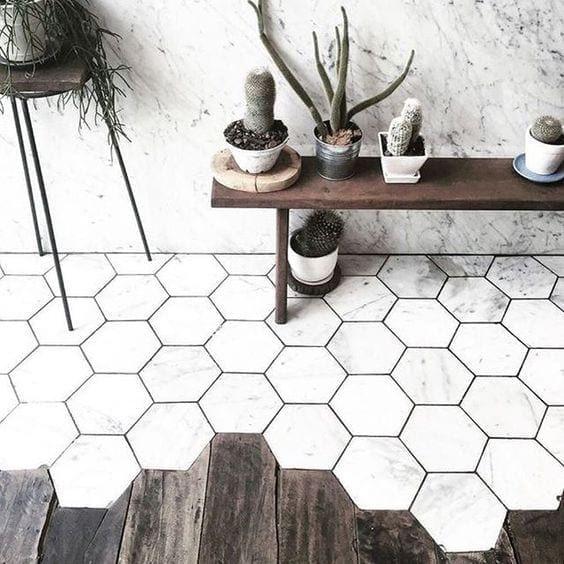 Revestimento marmorizado hexagonal