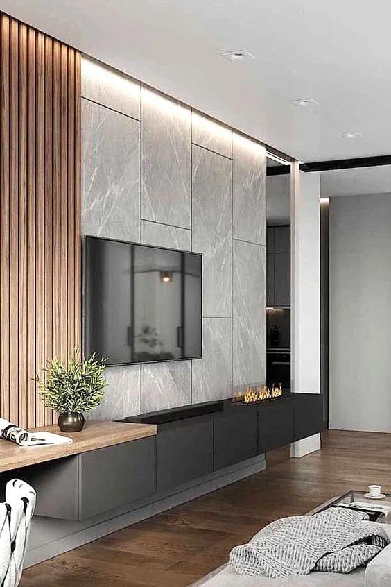 Revestimento marmorizado na sala de estar