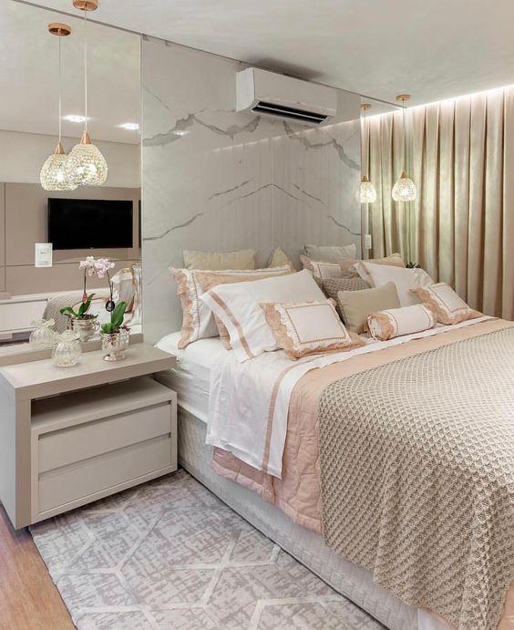 Revestimento marmorizado no quarto moderno